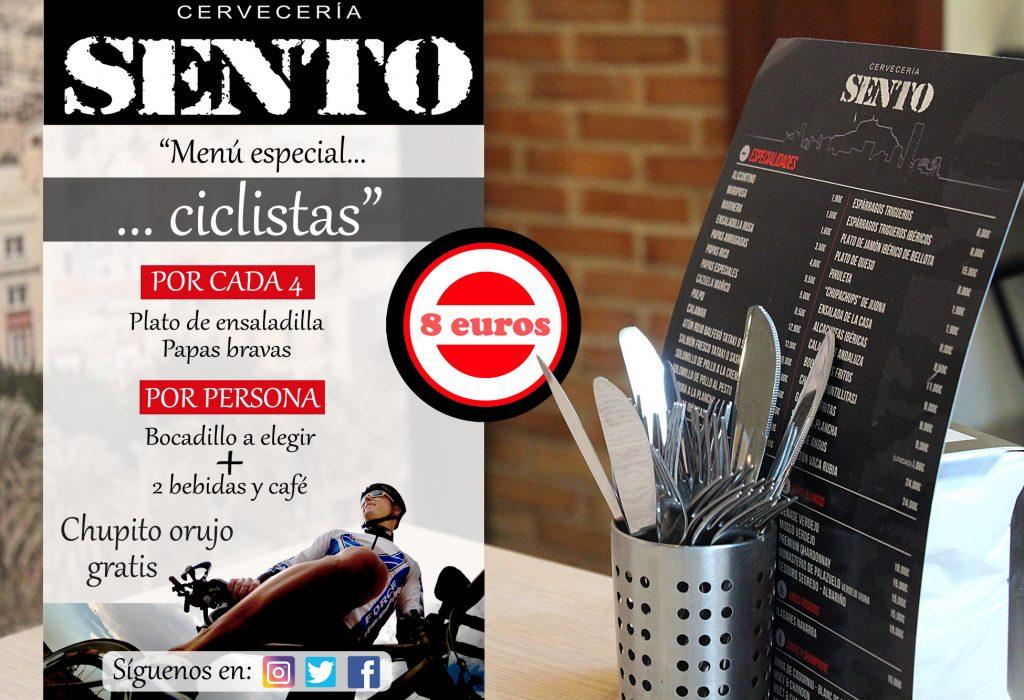 Ciclismo en Alicante menú para deportistas-Cervecerías Sento-Alicante